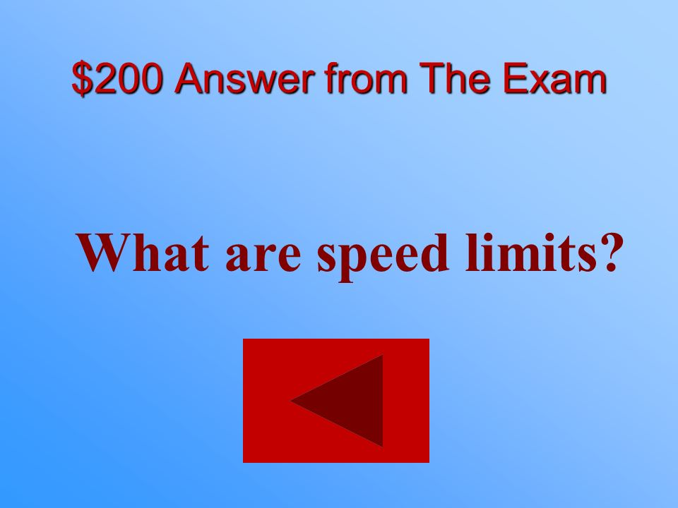$200 statement from The Exam These are established as the maximum to be driven in favorable conditions.