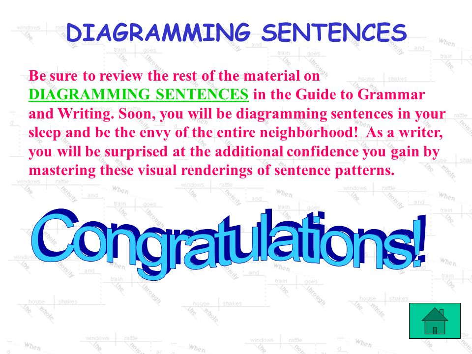 DIAGRAMMING SENTENCES One last diagram: a complex sentence.complex sentence Professor Higgins invited Jorge to the conference because he had written t