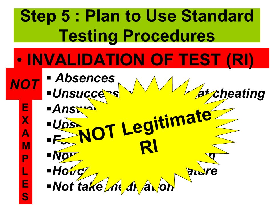 INVALIDATION OF TEST (RI) Absences Unsuccessful attempts at cheating Answering randomly Upset student Forgot glasses Noise or other interruption Hot/cold room temperature Not take medication Step 5 : Plan to Use Standard Testing Procedures EXAMPLESEXAMPLES NOT NOT Legitimate RI