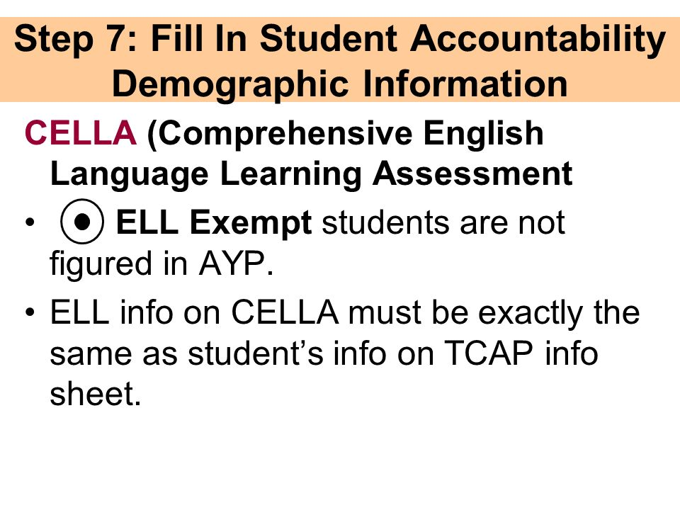 Step 7: Fill In Student Accountability Demographic Information CELLA (Comprehensive English Language Learning Assessment ELL Exempt students are not figured in AYP.