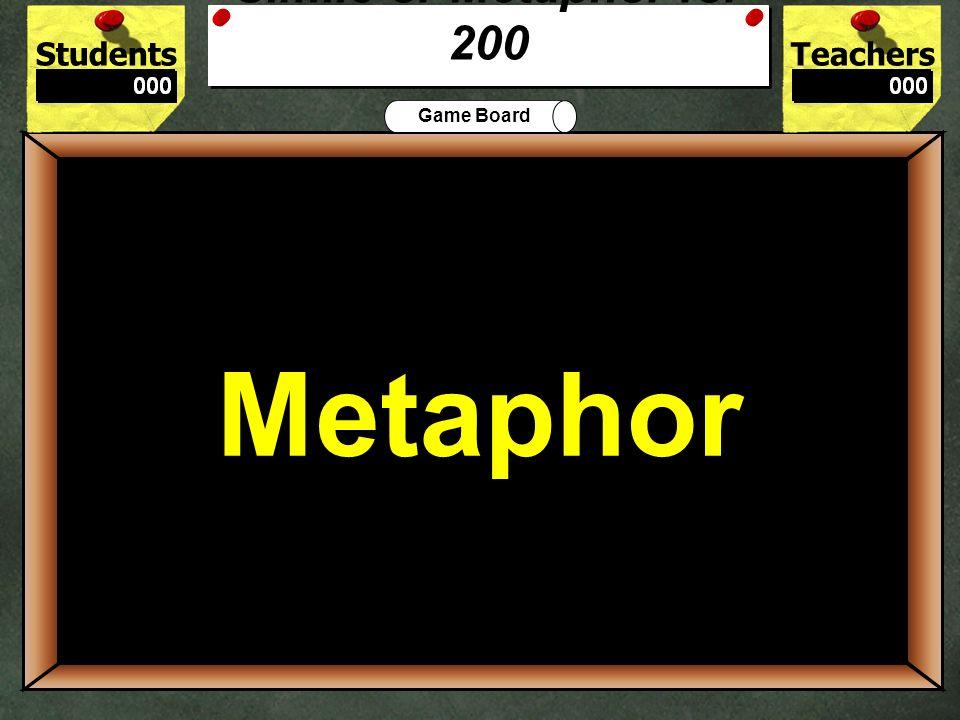 StudentsTeachers Game Board Debbie is as fast as lightning. Simile Metaphor 100 Simile Simile or Metaphor for 100