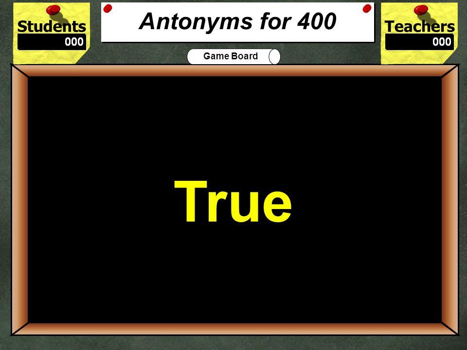 StudentsTeachers Game Board What is the best antonym for pleasant? Enjoyable Unpleasant 300 Unpleasant Antonyms for 300