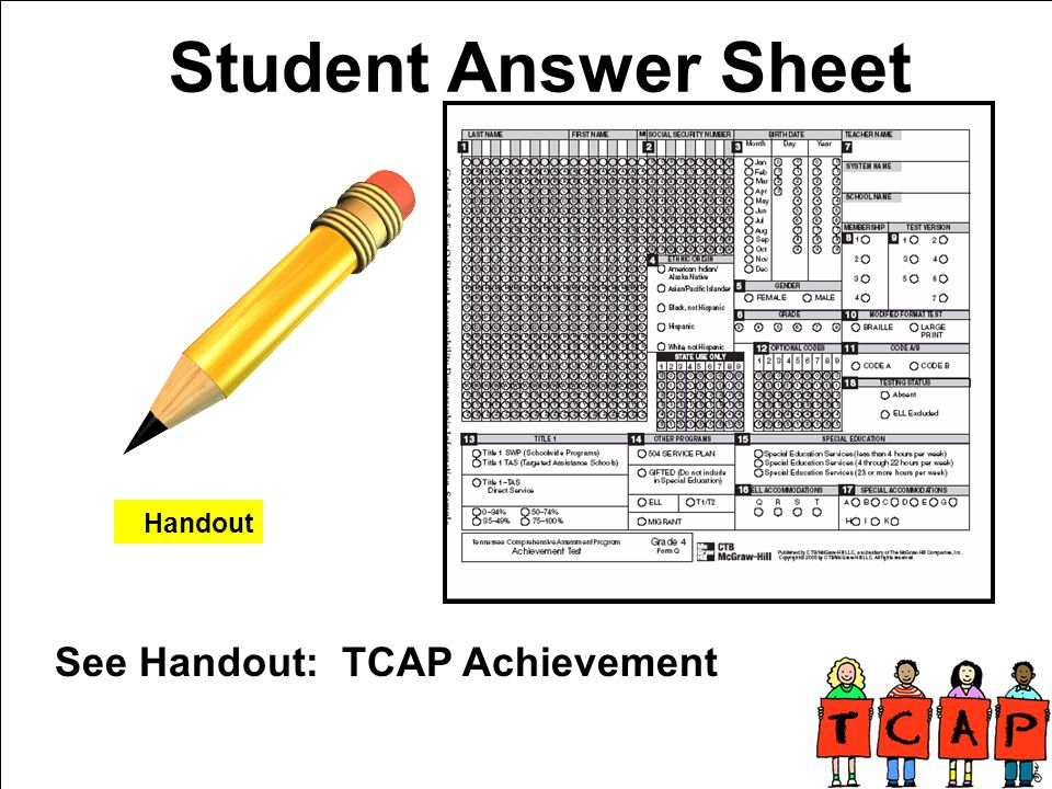Student Answer Sheet See Handout: TCAP Achievement Handout