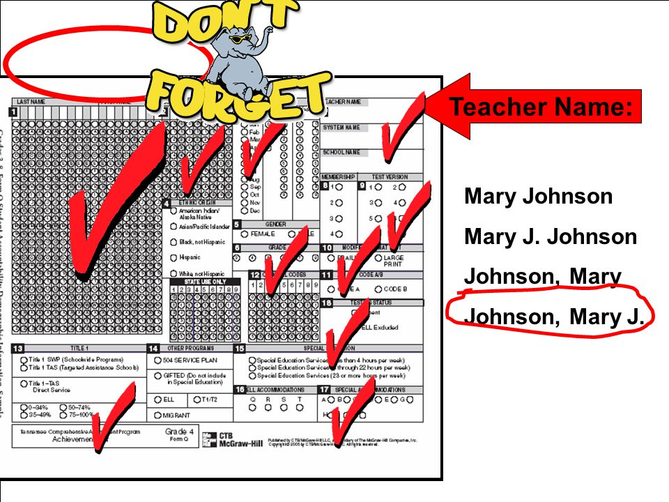 Teacher Name: Mary Johnson Mary J. Johnson Johnson, Mary Johnson, Mary J.