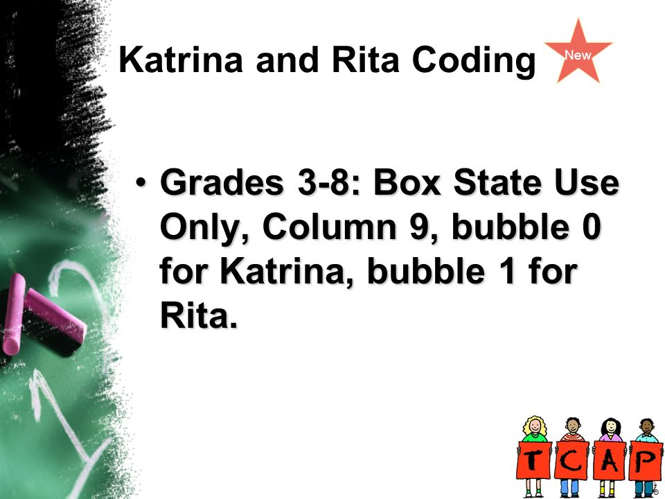 Katrina and Rita Coding New Grades 3-8: Box State Use Only, Column 9, bubble 0 for Katrina, bubble 1 for Rita.Grades 3-8: Box State Use Only, Column 9, bubble 0 for Katrina, bubble 1 for Rita.
