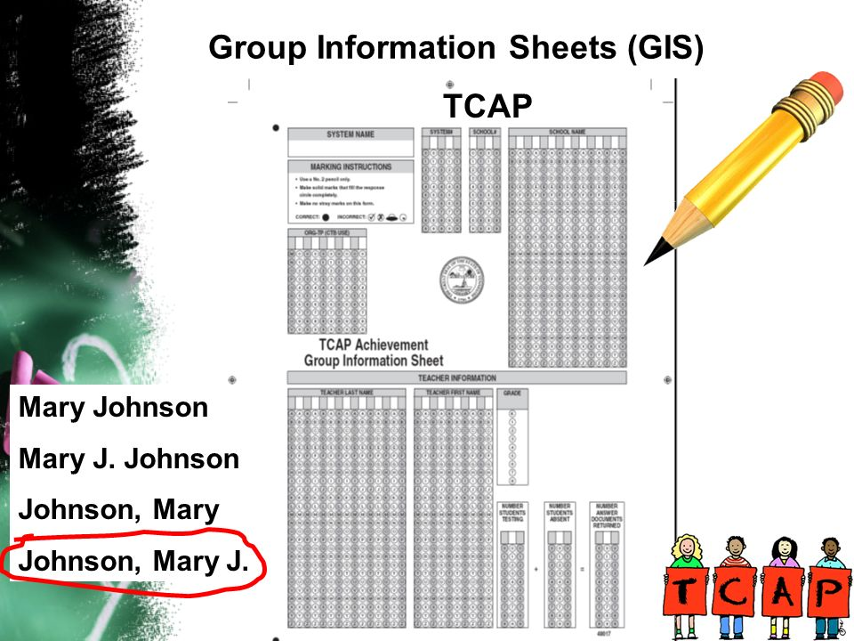 Group Information Sheets (GIS) TCAP Mary Johnson Mary J. Johnson Johnson, Mary Johnson, Mary J.