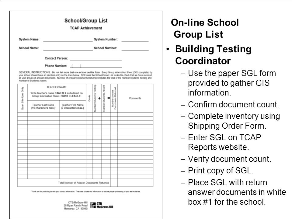 On-line School Group List Building Testing Coordinator –Use the paper SGL form provided to gather GIS information.