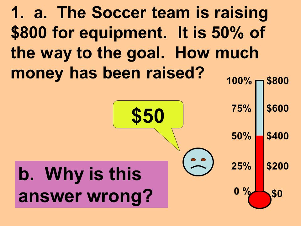 1. a. The Soccer team is raising $800 for equipment.