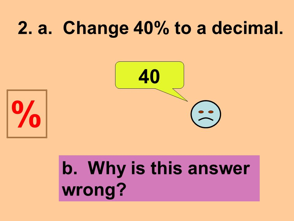 2. a. Change 40% to a decimal. 40 b. Why is this answer wrong %