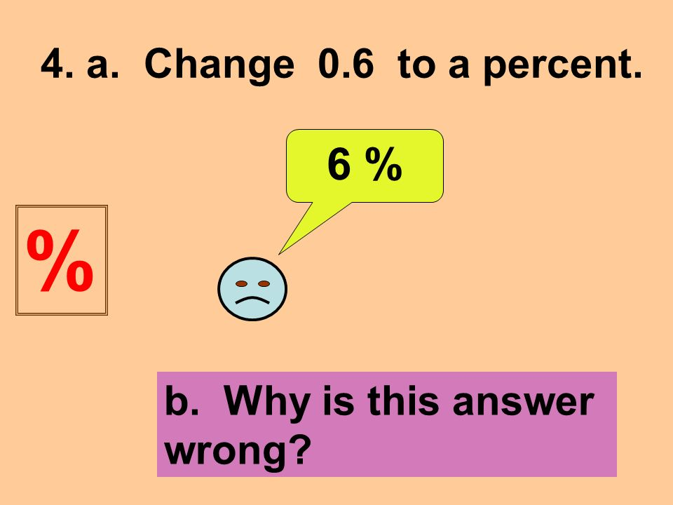 4. a. Change 0.6 to a percent. 6 % b. Why is this answer wrong %