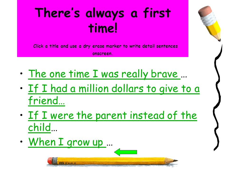 Theres always a first time! Click a title and use a dry erase marker to write detail sentences onscreen. The one time I was really brave …The one time