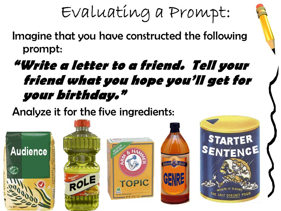 Evaluating a Prompt: Imagine that you have constructed the following prompt: Write a letter to a friend.