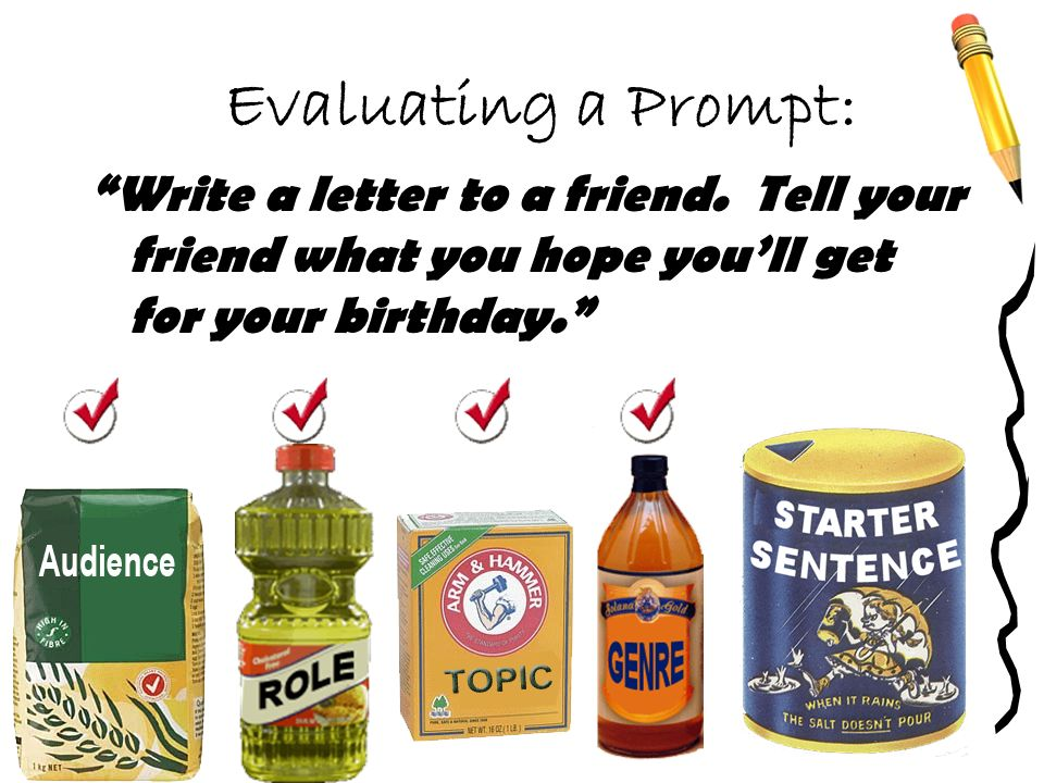 Evaluating a Prompt: Write a letter to a friend. Tell your friend what you hope youll get for your birthday.
