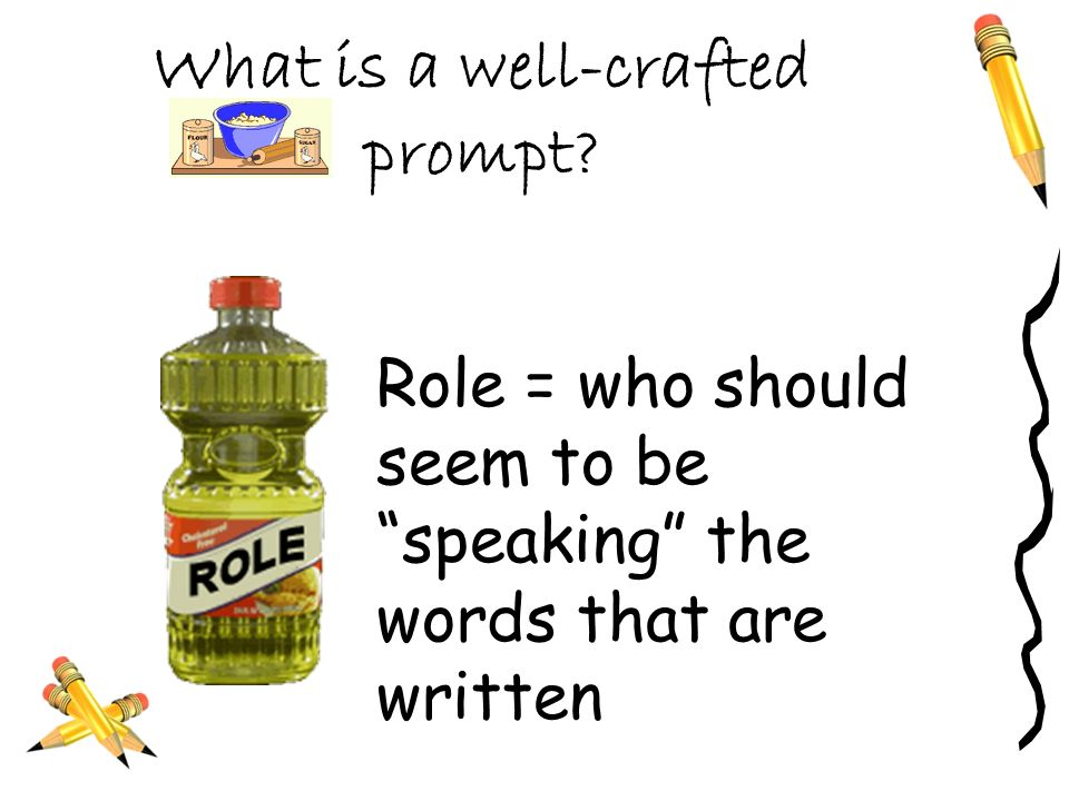 What is a well-crafted prompt? Topic = what the piece of writing should be about – its content