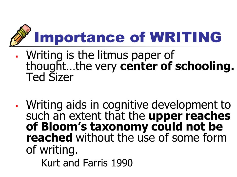 Importance of WRITING Writing is the litmus paper of thought…the very center of schooling.