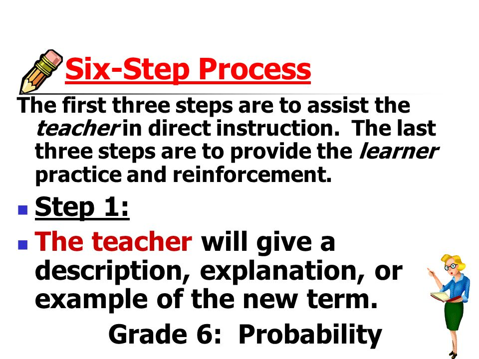 Six-Step Process The first three steps are to assist the teacher in direct instruction.
