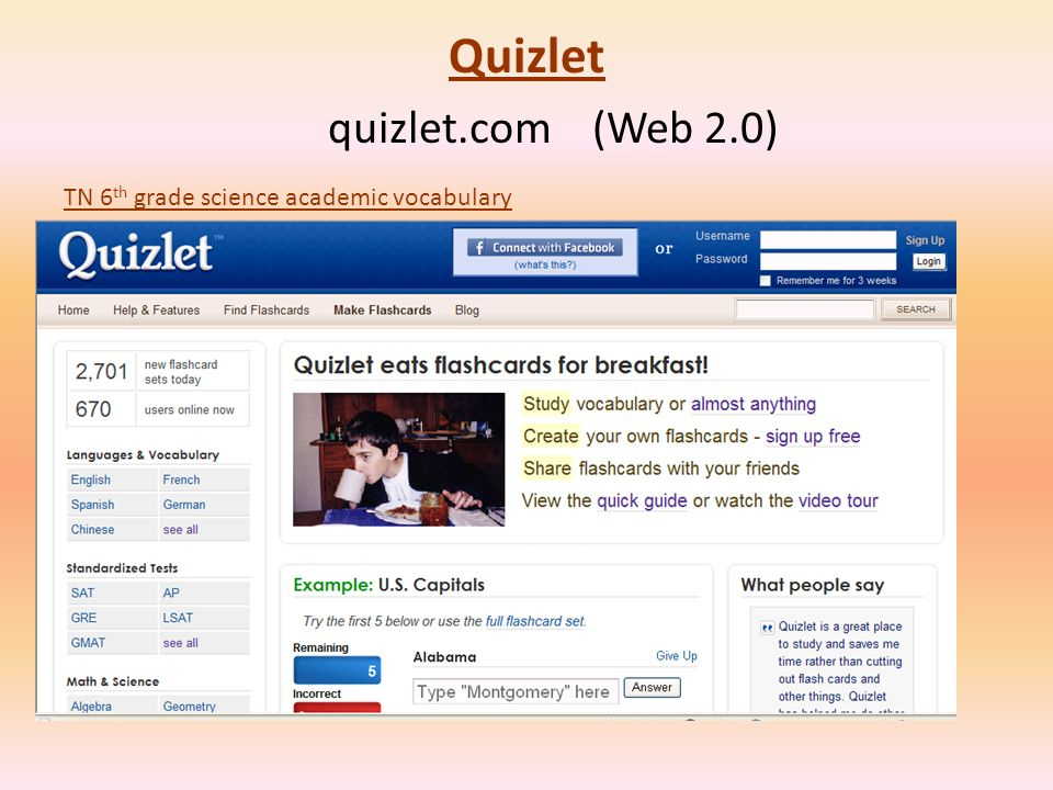 Quizlet Quizlet quizlet.com (Web 2.0) TN 6 th grade science academic vocabulary