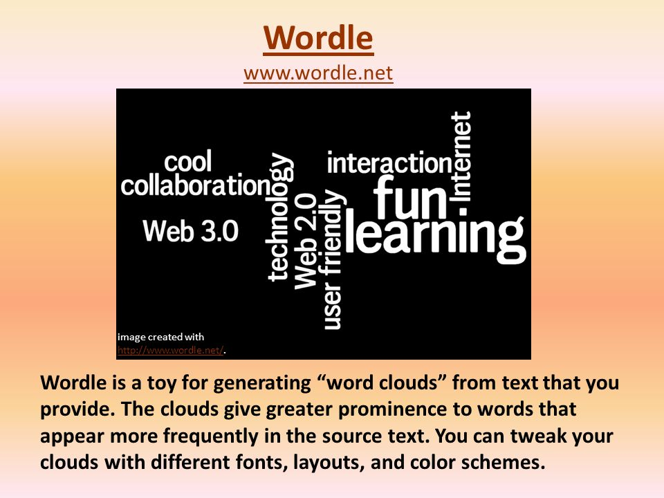 Wordle is a toy for generating word clouds from text that you provide.