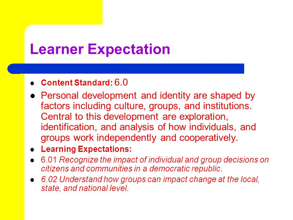 Learner Expectation Content Standard: 6.0 Personal development and identity are shaped by factors including culture, groups, and institutions.