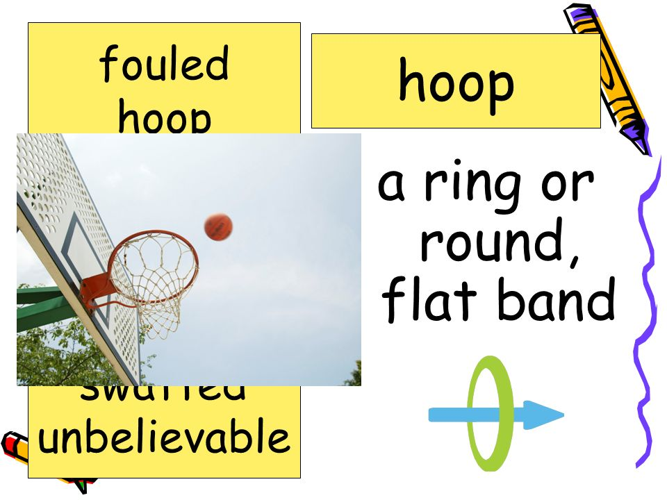 a ring or round, flat band hoop fouled hoop jersey marveled rim speechless swatted unbelievable