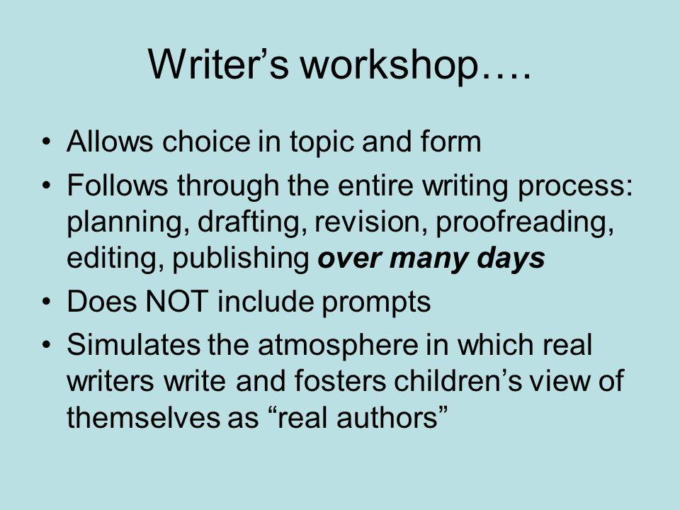 Writers workshop….