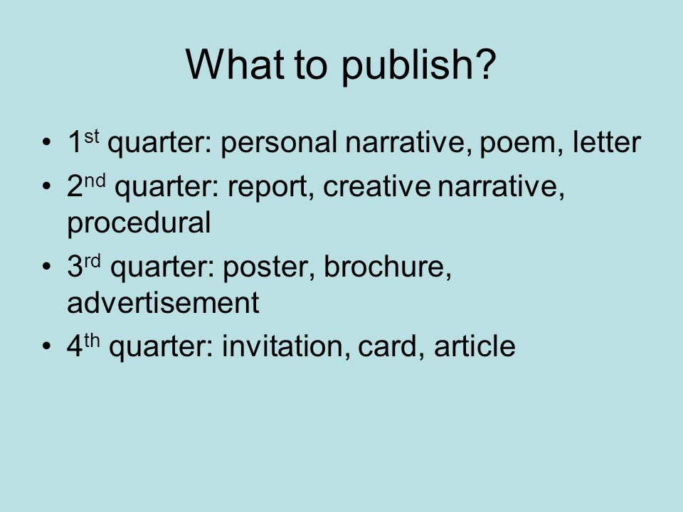What to publish.