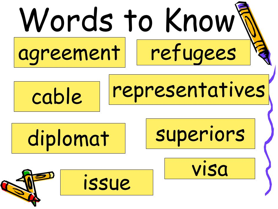 Words to Know agreement cable diplomat issue refugees representatives superiors visa
