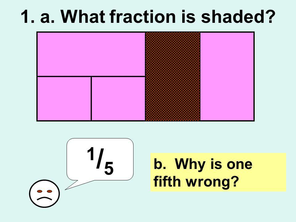 1. a. What fraction is shaded? 1/51/5 b. Why is one fifth wrong?