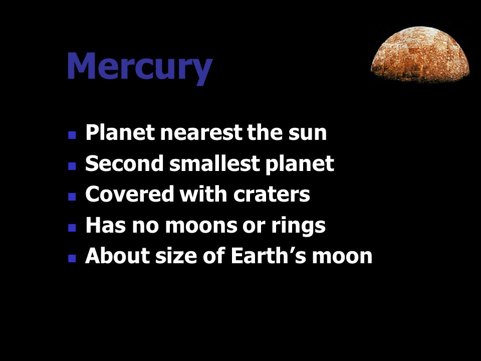 Inner Planets The inner four rocky planets at the center of the solar system are: Mercury Venus Earth Mars