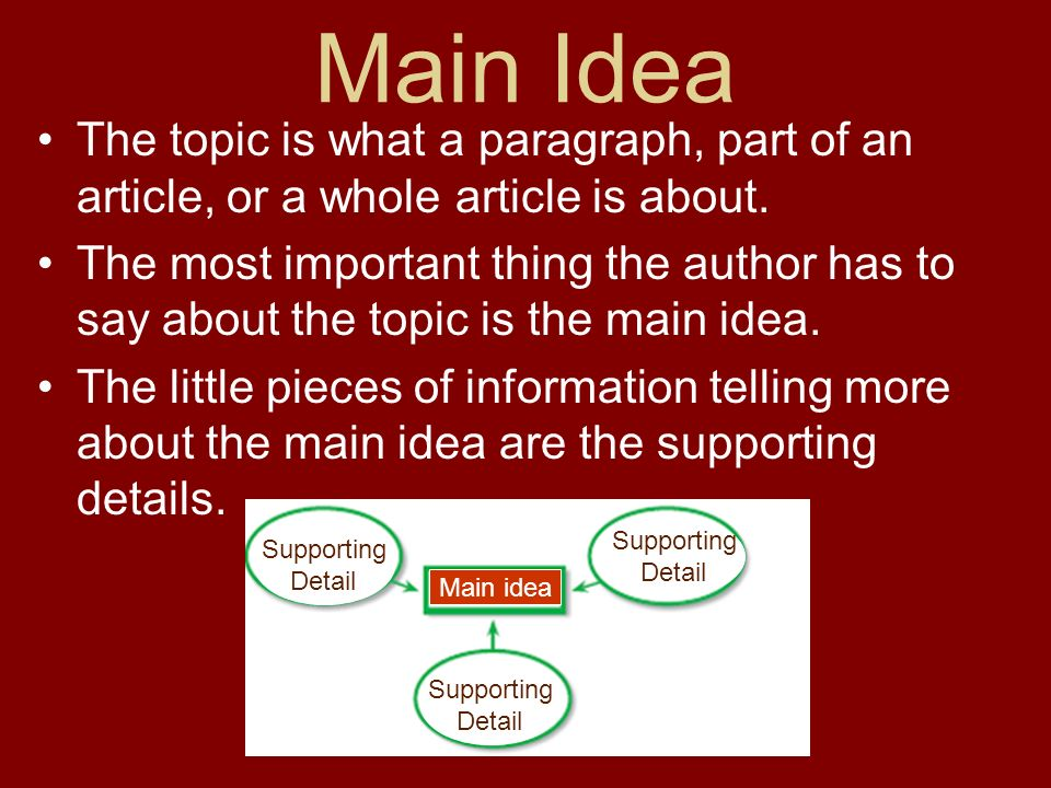 Main Idea The topic is what a paragraph, part of an article, or a whole article is about. The most important thing the author has to say about the top