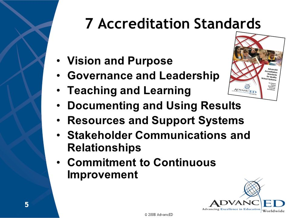 © 2008 AdvancED 5 7 Accreditation Standards Vision and Purpose Governance and Leadership Teaching and Learning Documenting and Using Results Resources