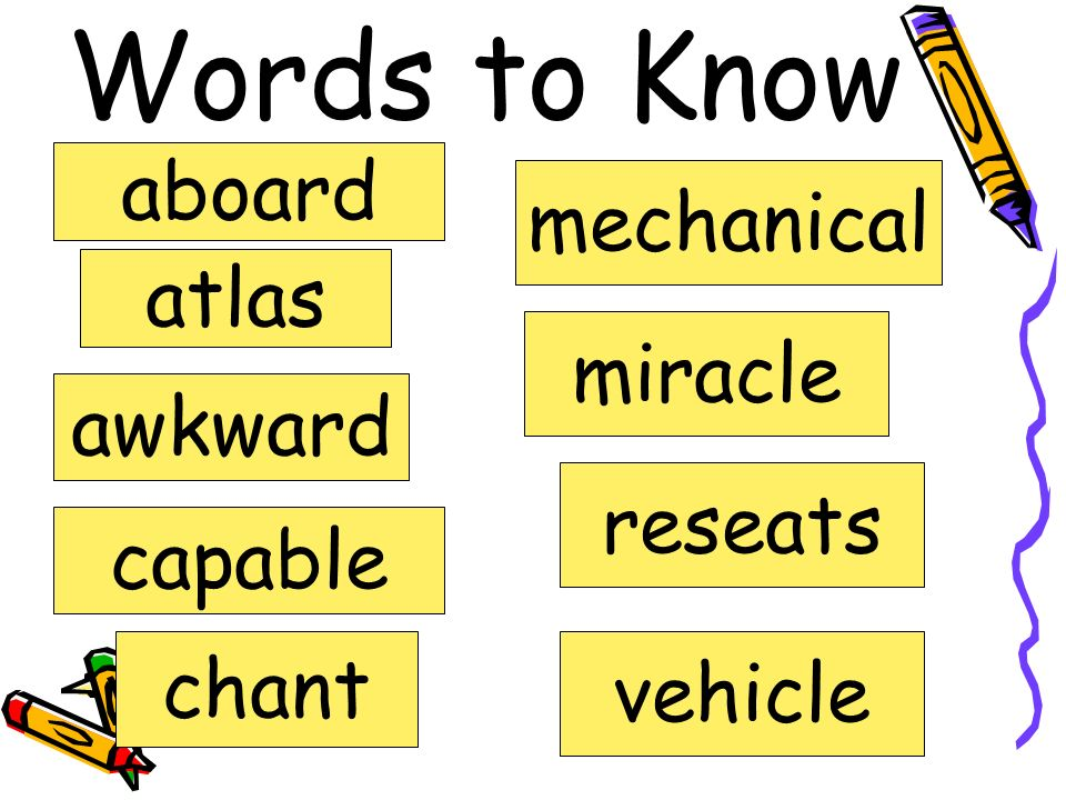 Words to Know aboard atlas awkward capable chant mechanical miracle reseats vehicle