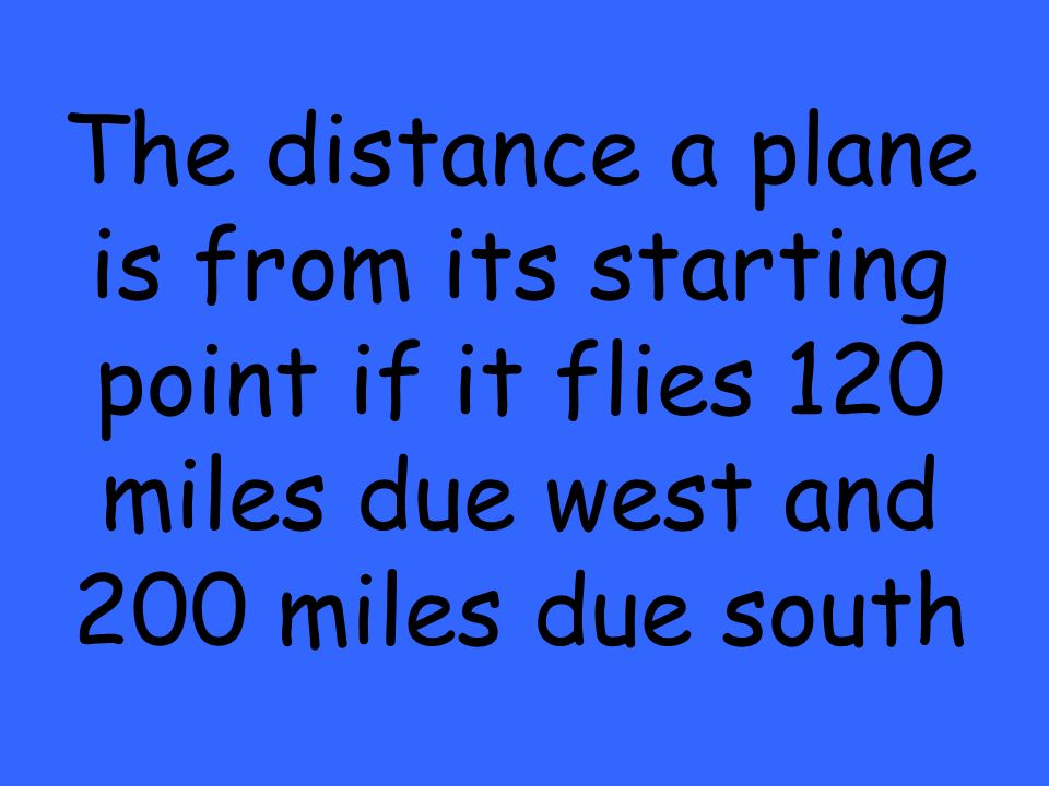 The distance a plane is from its starting point if it flies 120 miles due west and 200 miles due south
