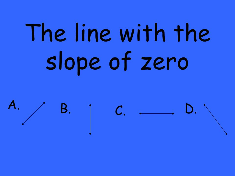 The line with the slope of zero A. B. C. D.