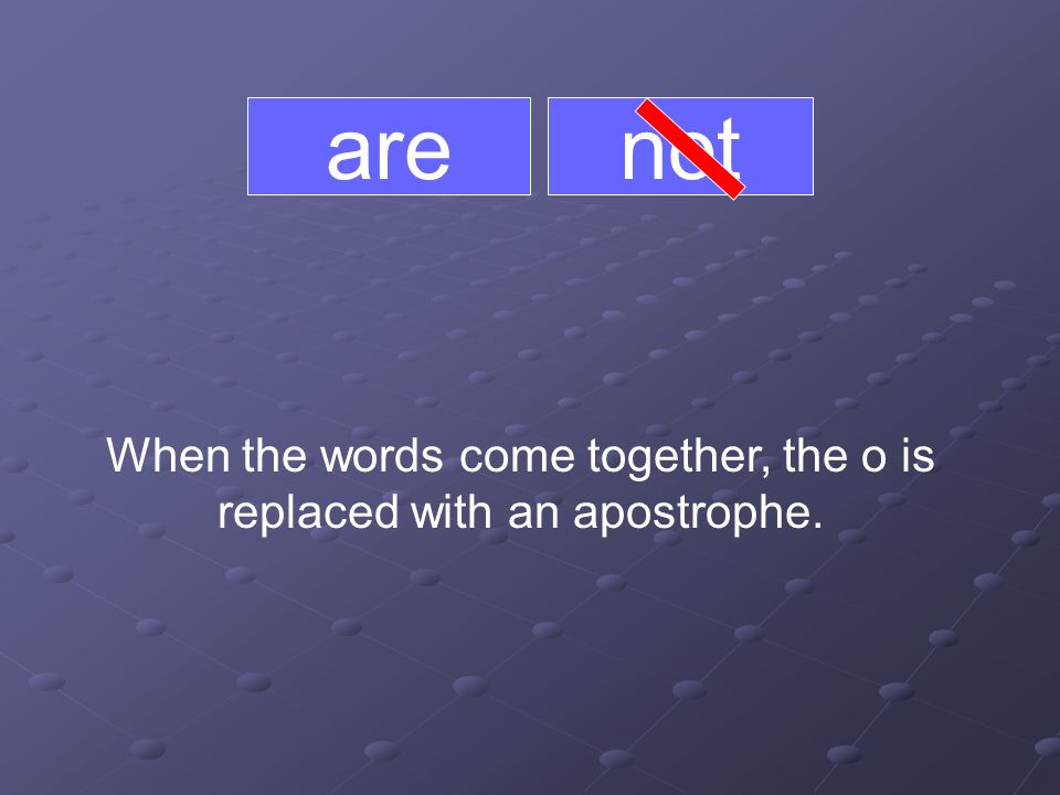 are When the words come together, the o is replaced with an apostrophe. not