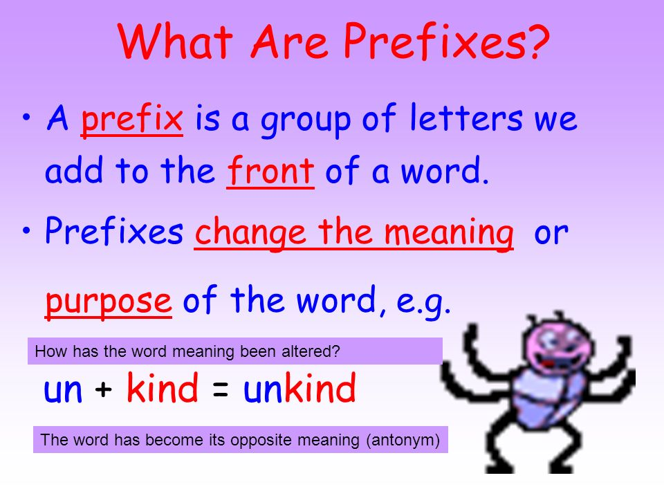 Literacy Objectives: To understand what is meant by the term prefix; To recognise and spell the prefixes: - un and dis.