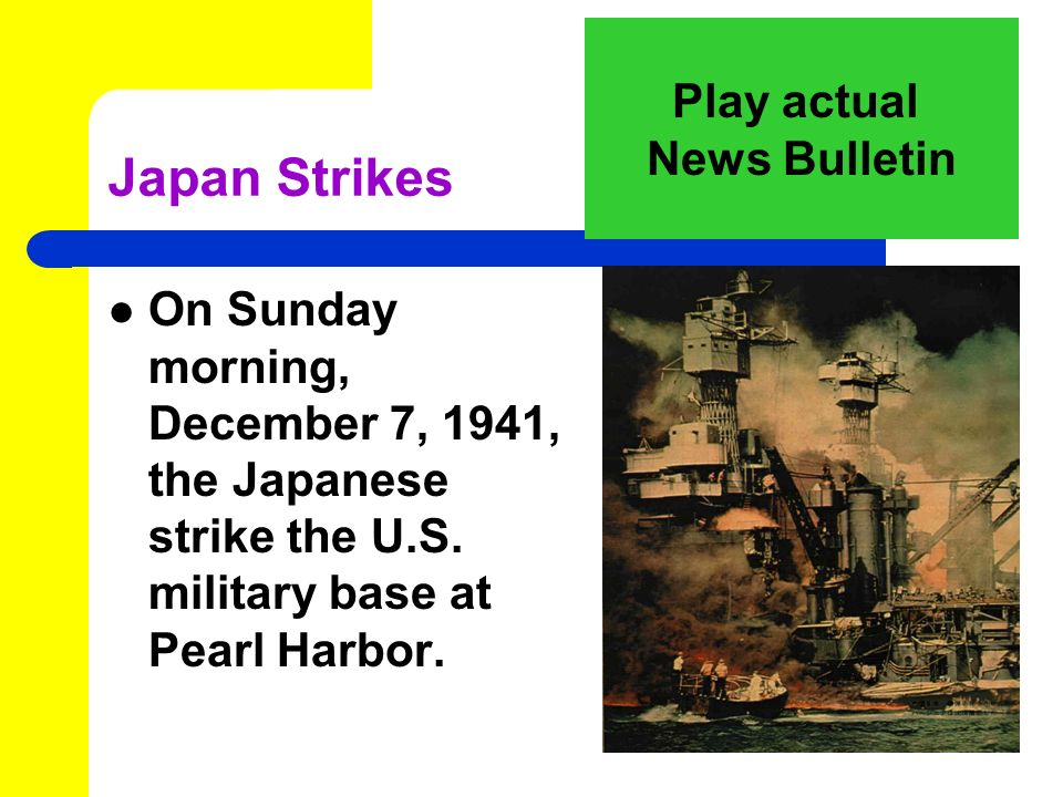 November, 1941 Japan sends its forces to sea, headed for Pearl Harbor, Hawaii.