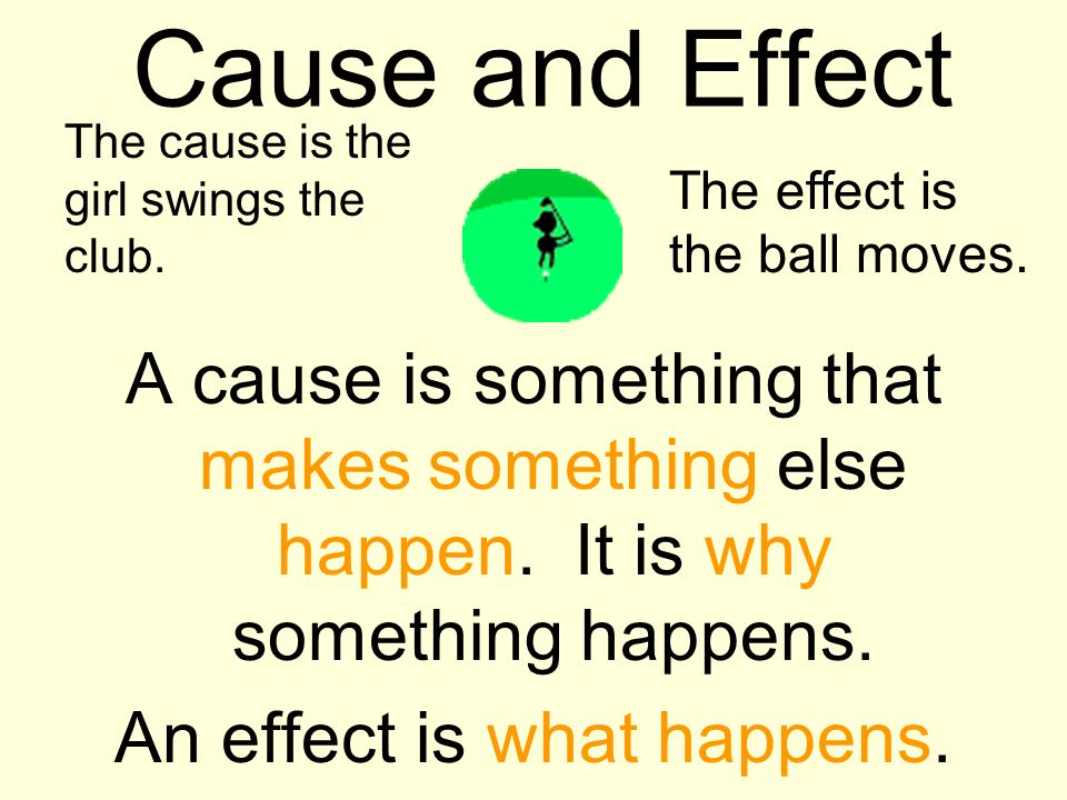Cause and Effect A cause is something that makes something else happen. It is why something happens. An effect is what happens. The cause is the girl