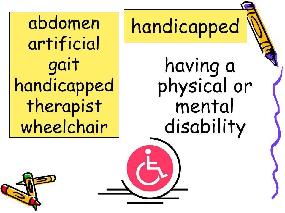 Words to Know abdomen artificial gait handicapped therapist wheelchair