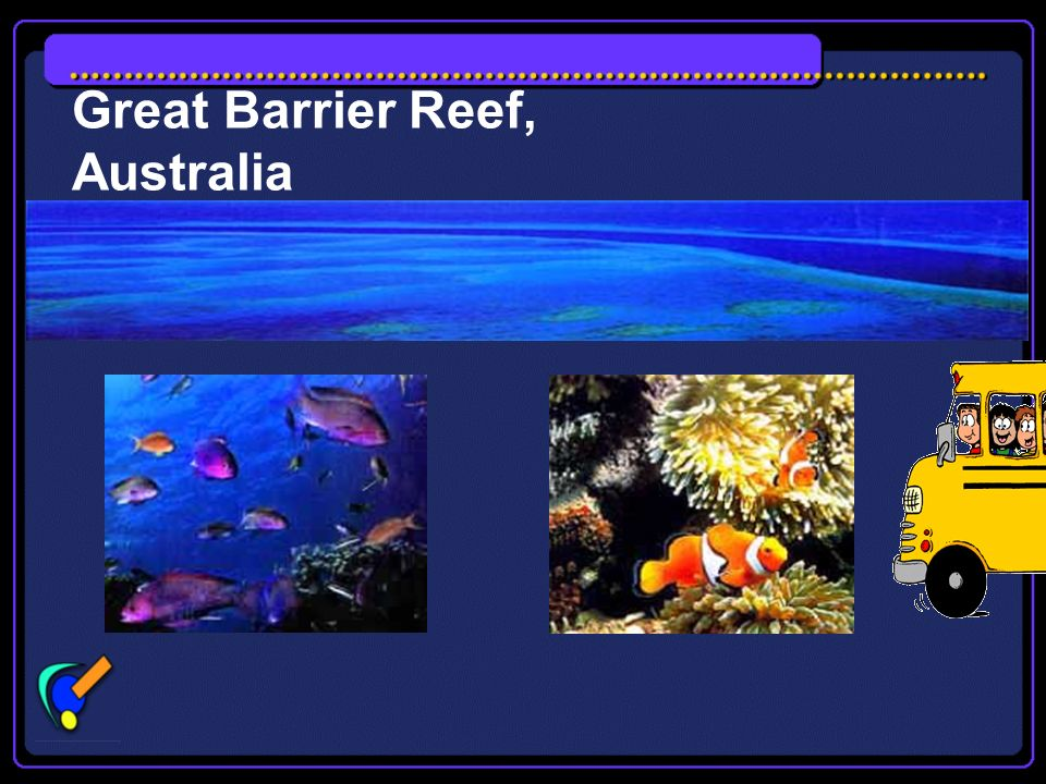 Great Barrier Reef The Great Barrier Reef stretches along the east coast of Queensland in Australia. It is the world's largest coral reef. It is over