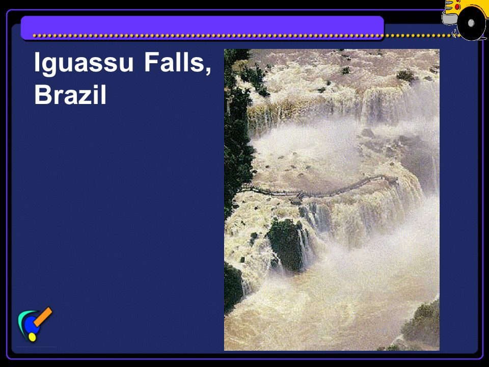 Iguassu Falls Iguassu Falls is on the border of Argentina, Brazil and Paraguay. Iguaçú comes means Great Water. The falls are 3 kilometres long and 60