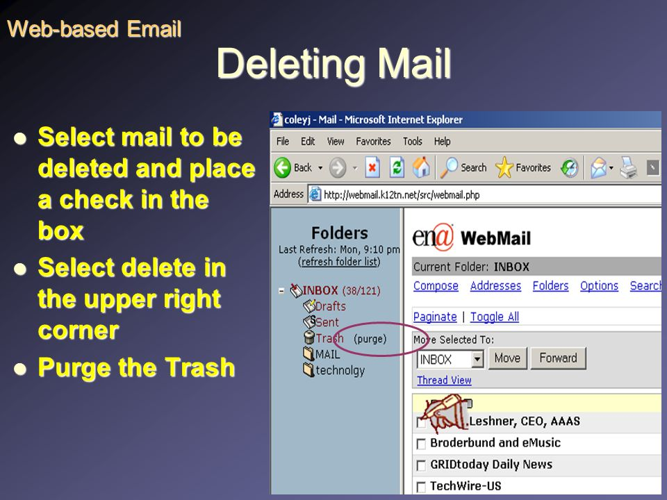 Organizing Mail In the Thread View, mail can be sorted by sender, date, or subject. Web-based