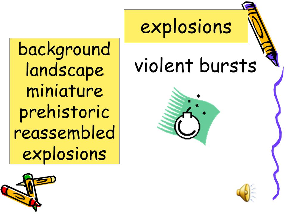 violent bursts explosions background landscape miniature prehistoric reassembled explosions