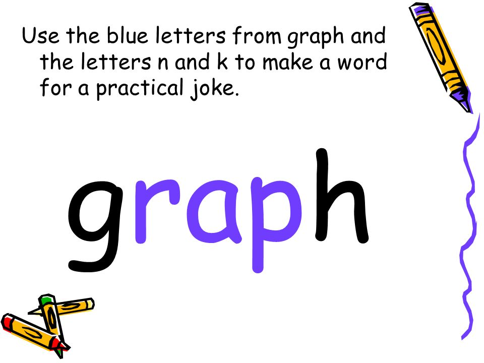 Use the blue letters from graph and the letters n and k to make a word for a practical joke. graph