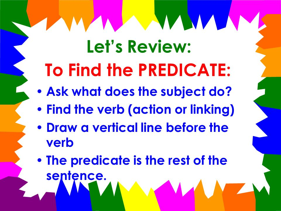 Lets Practice! Tim and I will be in the wedding. WHO?Tim and I WHAT DID WE DO? will be in the wedding. SUBJECT PREDICATE