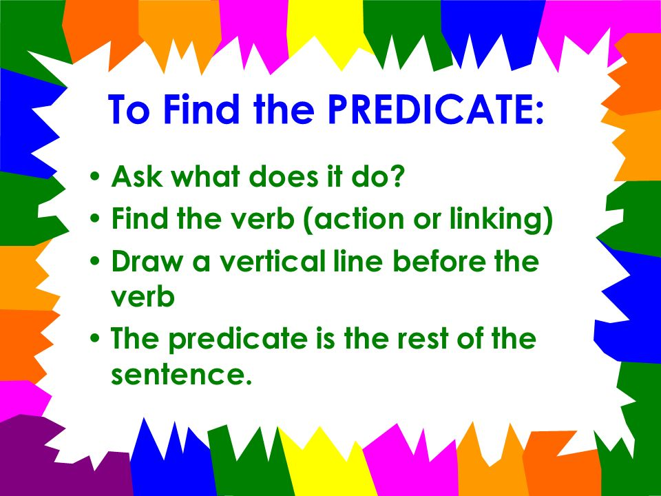 Judy and her dog run on the beach every day. Who? What do they do? Judy and her dog run on the beach everyday. SUBJECT PREDICATE EXAMPLE: