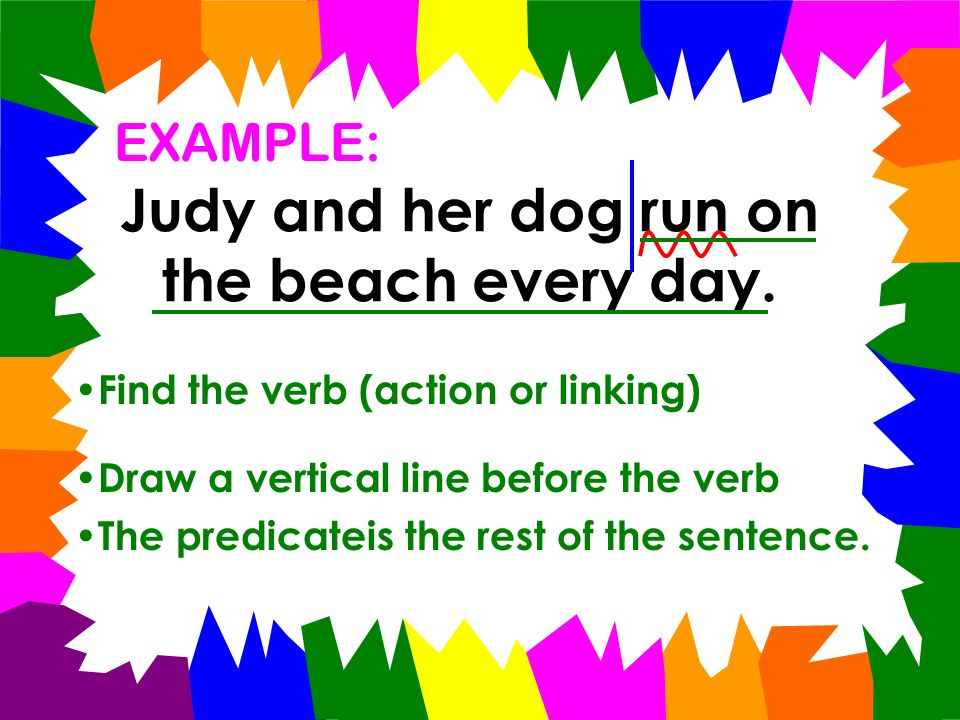 To Find the PREDICATE: Ask what does it do? Find the verb (action or linking) Draw a vertical line before the verb The predicate is the rest of the se