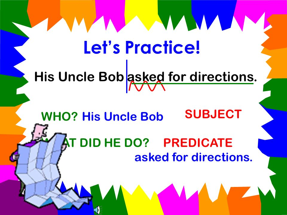 Lets Practice! My little brother broke his finger. WHO?My little brother WHAT DID HE DO? broke his finger. SUBJECT PREDICATE