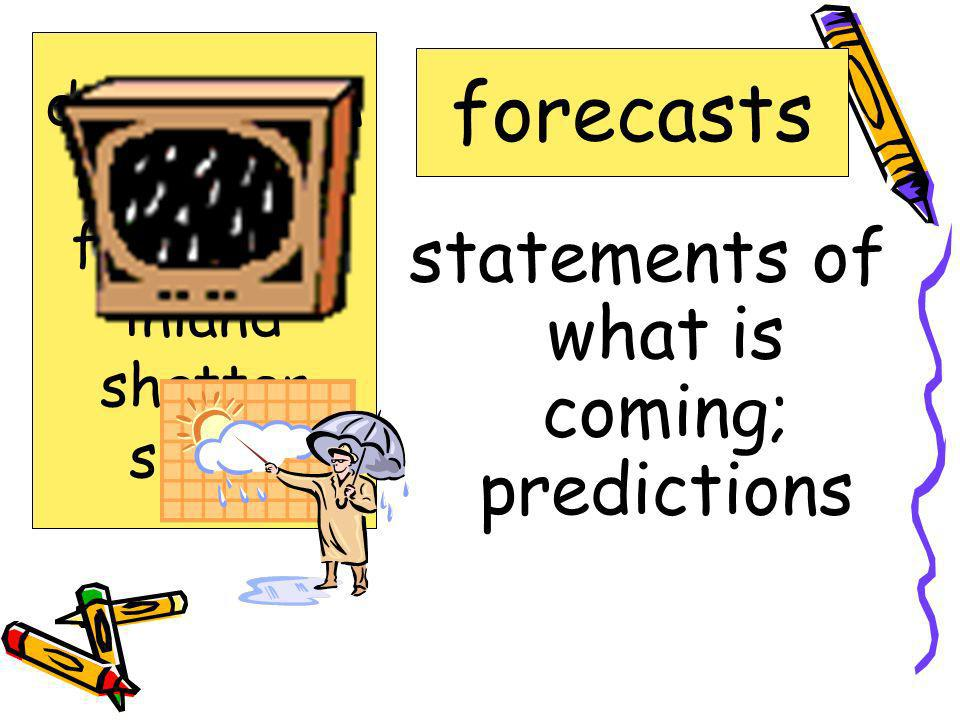 statements of what is coming; predictions forecasts destruction expected forecasts inland shatter surge