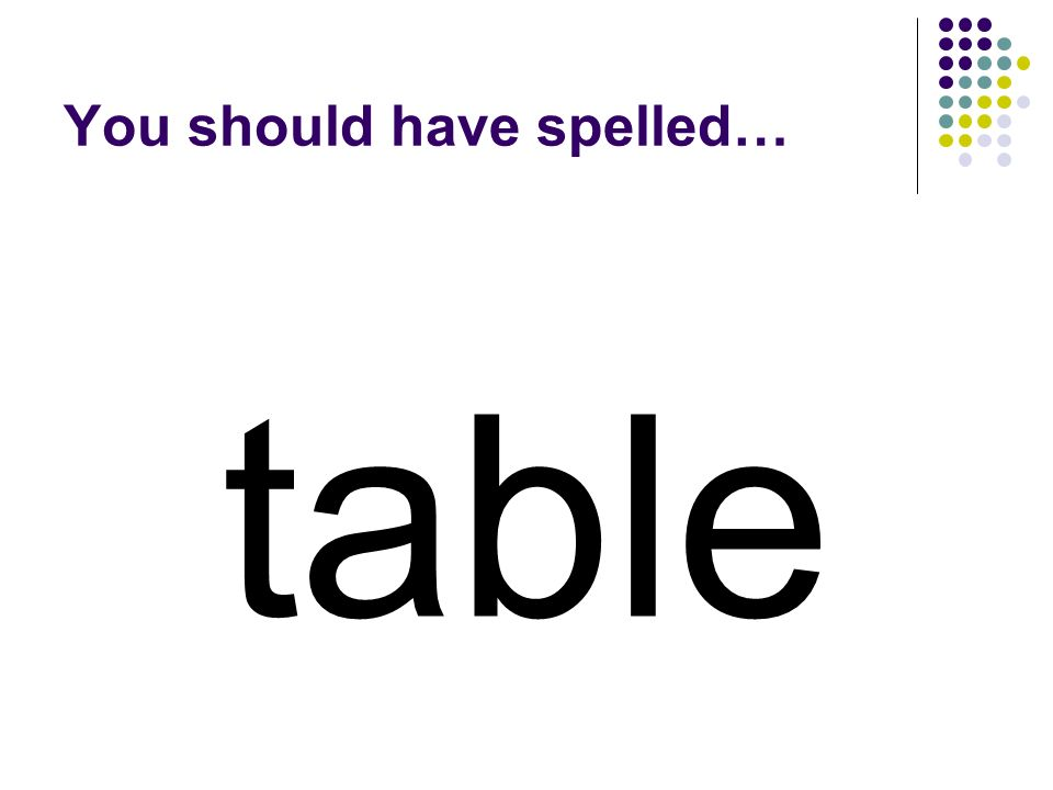 let Use a the letters in let and three more letters to make a word for the something we put food on.